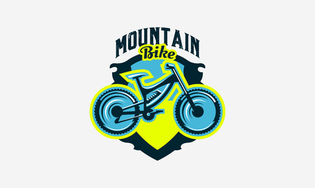 Colorful logo, emblem, mountain bike icon. Bicycle, transport, downhill, freeride, extreme, sports. T-shirt printing, vector illustration. Çizim