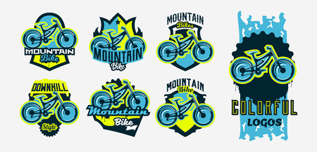 A colorful collection of logos, emblems, mountain bike icons. Bicycle, transport, downhill, freeride, extreme, sports. T-shirt printing, vector illustration.