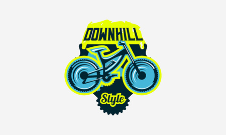 Colorful logo, emblem, mountain bike icon. Bicycle, transport, downhill, freeride, extreme, sports. T-shirt printing, vector illustration. Ilustração