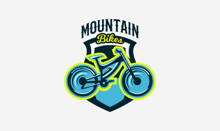 Colorful logo, emblem, mountain bike icon. Bicycle, transport, downhill, freeride, extreme, sports. T-shirt printing, vector illustration. Illustration