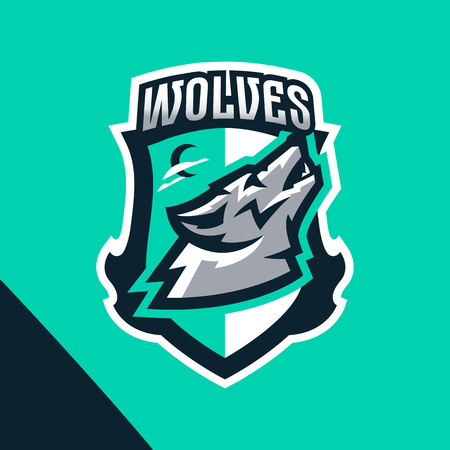Colorful emblem of the howling wolf. Logo, badge of the wild beast, dangerous animal, aggressive predator. Identity sports club, vector illustration Ilustrace