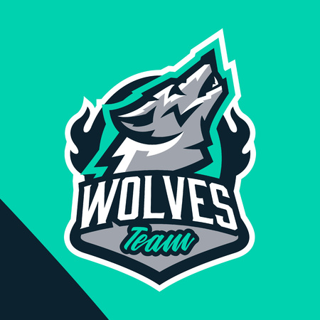 Colorful emblem of the howling wolf. Logo, badge of the wild beast, dangerous animal, aggressive predator. Identity sports club, vector illustration Illustration