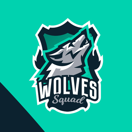 Colorful emblem of the howling wolf. Logo, badge of the wild beast, dangerous animal, aggressive predator. Identity sports club, vector illustration Ilustração