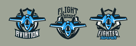 A set of colorful logos, badges, emblems of a military fighter plane. Aircraft, air patrol, aviation, sky defenders, shield, lettering. Vector illustration Ilustração
