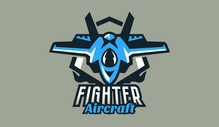 Colorful logo, badge, emblem of military fighter plane. Aircraft, air patrol, aviation, defenders of the sky, shield, lettering. Vector illustration Ilustração