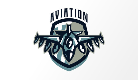 Colorful logo, badge, emblem of military fighter plane. Aircraft, air patrol, aviation, sky defenders, bomber, rockets, shield, lettering. Vector illustration