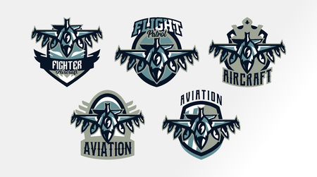 A set of colorful logos, badges, emblems of a military fighter plane. Aircraft, air patrol, aviation, sky defenders, bomber, rockets, shield, lettering. Vector illustration