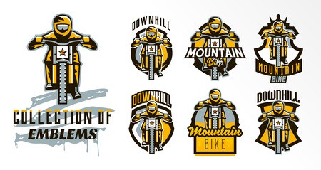 A colorful set of emblems, badges, logos of a rider riding a mountain bike. Bicycle, transport, downhill, freeride, extreme, sports. T-shirt printing, vector illustration. Ilustração
