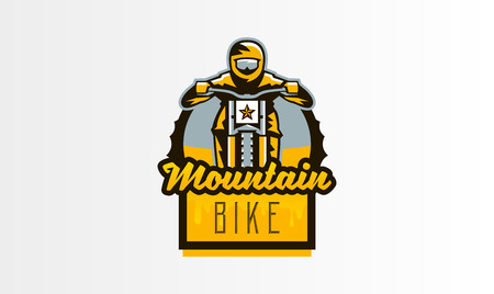 Colorful emblem, badge, logo of the rider riding a mountain bike. Bicycle, transport, downhill, freeride, extreme, sports. T-shirt printing, vector illustration.
