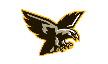 The logo of a flying hawk. A dangerous predator, an animal, a bird, a mascot of a sports club. Vector illustration