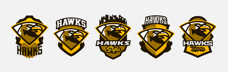 A set of colorful logos, stickers, emblems of a hawks head. Flying bird, hunter, predator, dangerous animal, shield, lettering. Mascot sports club, vector illustration