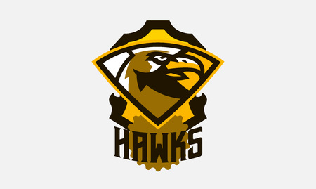 Colorful logo, sticker, emblem of a hawk head. Flying bird, hunter, predator, dangerous animal, shield, lettering. Mascot sports club, vector illustration