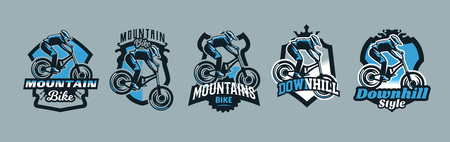 A colorful set of emblems, badges, logos of a rider flying on a mountain bike. Bicycle, transport, downhill, freeride, extreme, sports. T-shirt printing, vector illustration. Ilustração