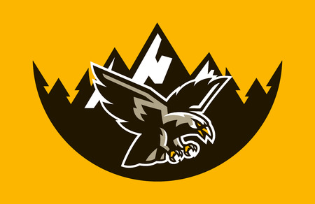 The logo of a flying hawk, on the background of mountains and forests. A dangerous predator, an animal, a bird, a mascot of a sports club. Vector illustration Çizim