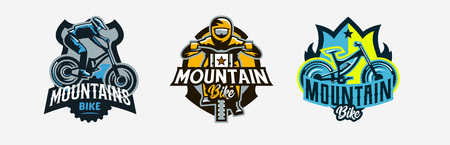 A set of colorful logos, badges, emblems on the theme of a rider and a trip on a mountain bike. Bicycle, transport, downhill, freeride, extreme, sports. T-shirt printing, vector illustration. Illustration