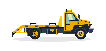 Tow truck, commercial vehicles, service equipment. Truck for the evacuation of faulty cars. Vector illustration