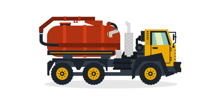 Water transport, commercial vehicles, service equipment. Truck with water tank. Vector illustration.