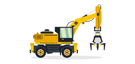 Excavator, commercial vehicles, construction equipment. Excavator on wheels working on construction sites. Vector illustration.