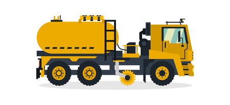 Truck cleaning the road with a brush and water, commercial vehicles, service equipment. Vector illustration.