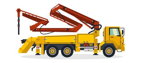 Bomba de hormigón, vehículos comerciales, equipos de construcción. Camión bomba de hormigón trabajando en obras de construcción. Ilustración vectorial.