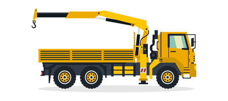 Truck crane, commercial vehicles, construction equipment. Truck with a lifting crane. Vector illustration.