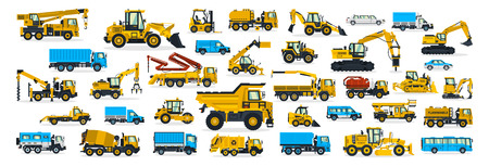 A large set of construction equipment, transportation for the construction site, cargo truck, bus, excavator, crane, tractor. Machines for building services. Shipping by cars. Vector illustration.