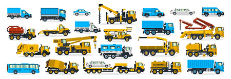A large set of construction equipment, wheeled transport. Cars serving the construction site. Crane, cargo delivery, bus, garbage truck, fuel truck, water carrier, cement mixer. Vector illustration. Ilustração