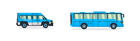 Set of buses. Transport for transportation of people. Tourist bus. Vector illustration. Illustration
