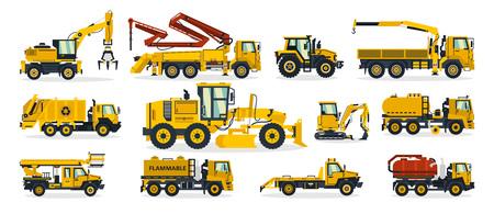 Ensemble de matériel de construction. Excavatrice, tracteur, pompe à béton, grue, camion à ordures, niveleuse, camion-citerne, dépanneuse. Véhicule de service. Illustration vectorielle.