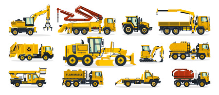 Set of construction equipment. Excavator, tractor, concrete pump, crane, garbage truck, grader, fuel truck, tow truck. Service vehicle. Vector illustration.