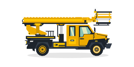 Autotower, commercial transport, construction equipment. Truck with a rising tower. Vector illustration. Çizim