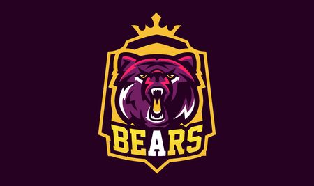Colorful emblem of an aggressive bear. Sports logo bear. Forest predator, wild beast. Vector illustration