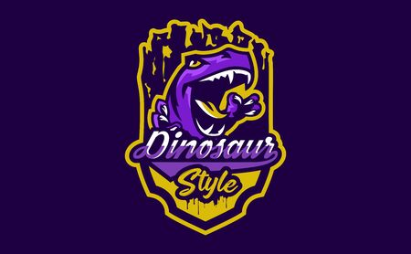 The emblem of an aggressive dinosaur, sharp teeth. Sports logo dino. Extinct predatory, Jurassic period. Vector illustration