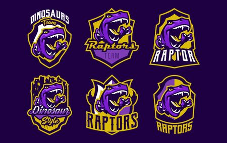 Set of dinosaur emblems. Sports logos dino. A colorful collection of reptiles, extinct predators. Vector illustration Çizim