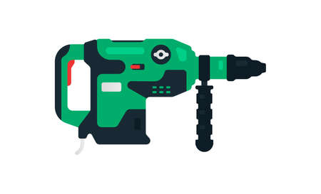 Electric rotary hammer drill side view. Power tools for home, construction and finishing work. Professional worker tool. Vector illustration isolated on white background.