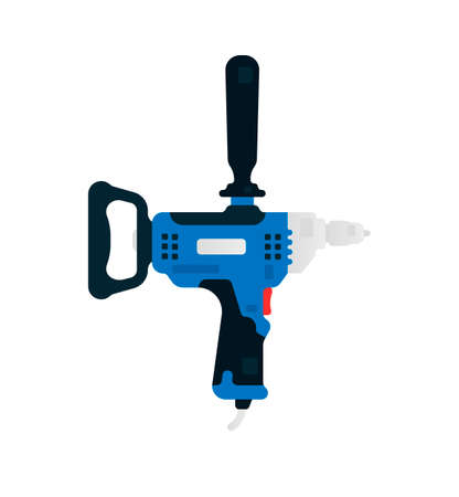 Electric drill side view. Power tool for construction and finishing works. Home renovation, carpentry tools. Vector illustration isolated on white background
