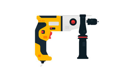 Electric drill side view. Power tool for construction and finishing works. Home renovation, carpentry tools. Vector illustration isolated on white background Ilustración de vector