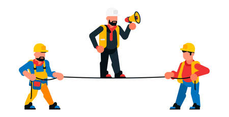 Builders and foreman with loudspeaker. Working with a rope, construction work manager. Vector illustration on white background