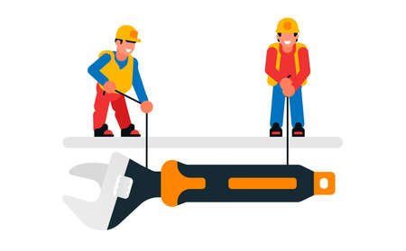 Workers lowering a large wrench. Builders and wrenches, tools, repairs, maintenance. Isolated vector illustration on white background