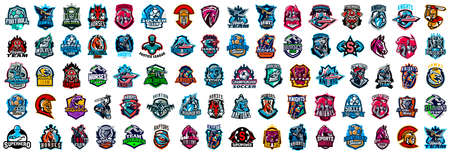 Huge set of colorful sports logos, emblems. Logos of knights, horses, superhero, soldier, skier, mountain bike, soccer ball, wolf, dinosaur, cowboy firefighter bear Vector illustration Иллюстрация