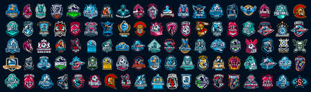 Huge set of colorful sports logos, emblems. Logos of knights, horses, superhero, soldier, skier, mountain bike, soccer ball, bear, eagle, cowboyfirefighterVector illustration isolated on background