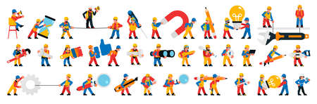 Worker and builders set. Men and women with tools. Characters for the website development process and construction site. Maintenance team. Magnifier, lamp, binoculars, hourglass. Vector illustration. Иллюстрация