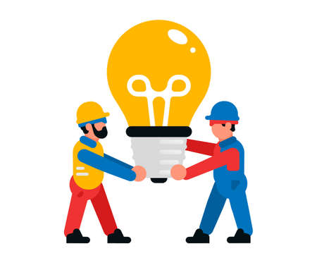 Workers carrying a large light bulb. Builders and a light bulb. Light, idea, inspiration, creativity. Isolated vector illustration on white background