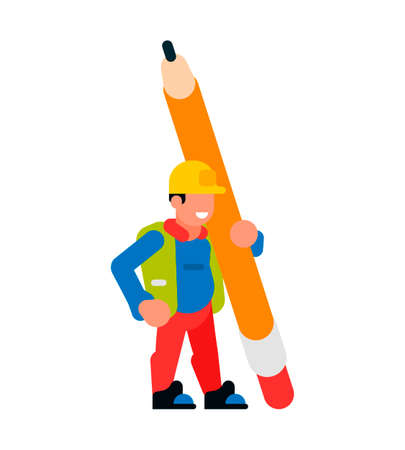Worker holding a large pencil. Worker man and pencil. Stationery, eraser, graphite, rod, smile, happy. Vector illustration isolated on white background