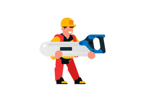A worker holding a large saw. Builder and saw. Smiling carpenter. Vector illustration isolated on white background