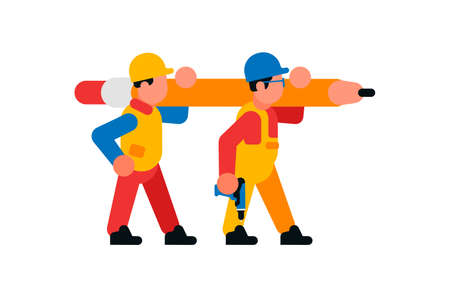 Workers carrying a large cardash. Builders and pencil. Rod, graphite, eraser, power tool. Vector illustration isolated on white background