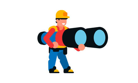 A worker holding a large binocular. Builder and Benchol. Smile, happy, spy, watching. Vector illustration isolated on white background