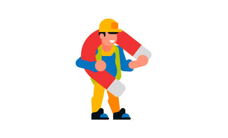 A worker holding a large magnet. Builder and magnet. Smile, happy, strength, attraction, power. Vector illustration isolated on white background.