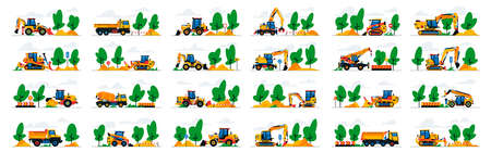 Set of construction equipment work at the site. Collection of machines for construction on a landscape. Excavator, bulldozer, tractor, loader, concrete mixer, asphalt paver, signs.Vector illustration