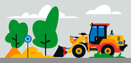 Construction machinery works at the site. Construction machinery, tractor, excavator, loader on the background of a landscape of trees, sand. Vector illustration on background Иллюстрация